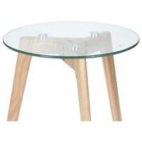 Přístavný stolek TARA tvrzené sklo/přírodní 2