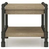 Přístavný stolek TUBE akácie/hnědá 1