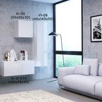 TV komoda  VIVO VI 1 100cm, bílá, vysoký lesk 5