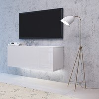 TV komoda VIVO VI 2 LED 120 cm, bílá vysoký lesk 2