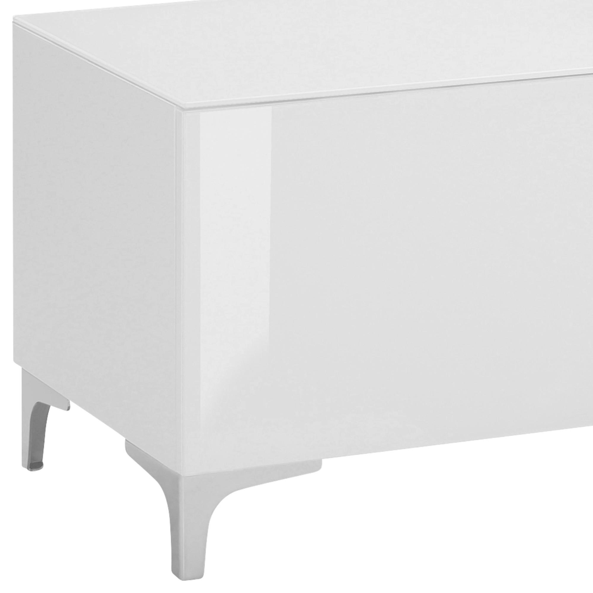 Sconto TV stolík BENTLEY biela matná/biele sklo, šírka 181 cm.