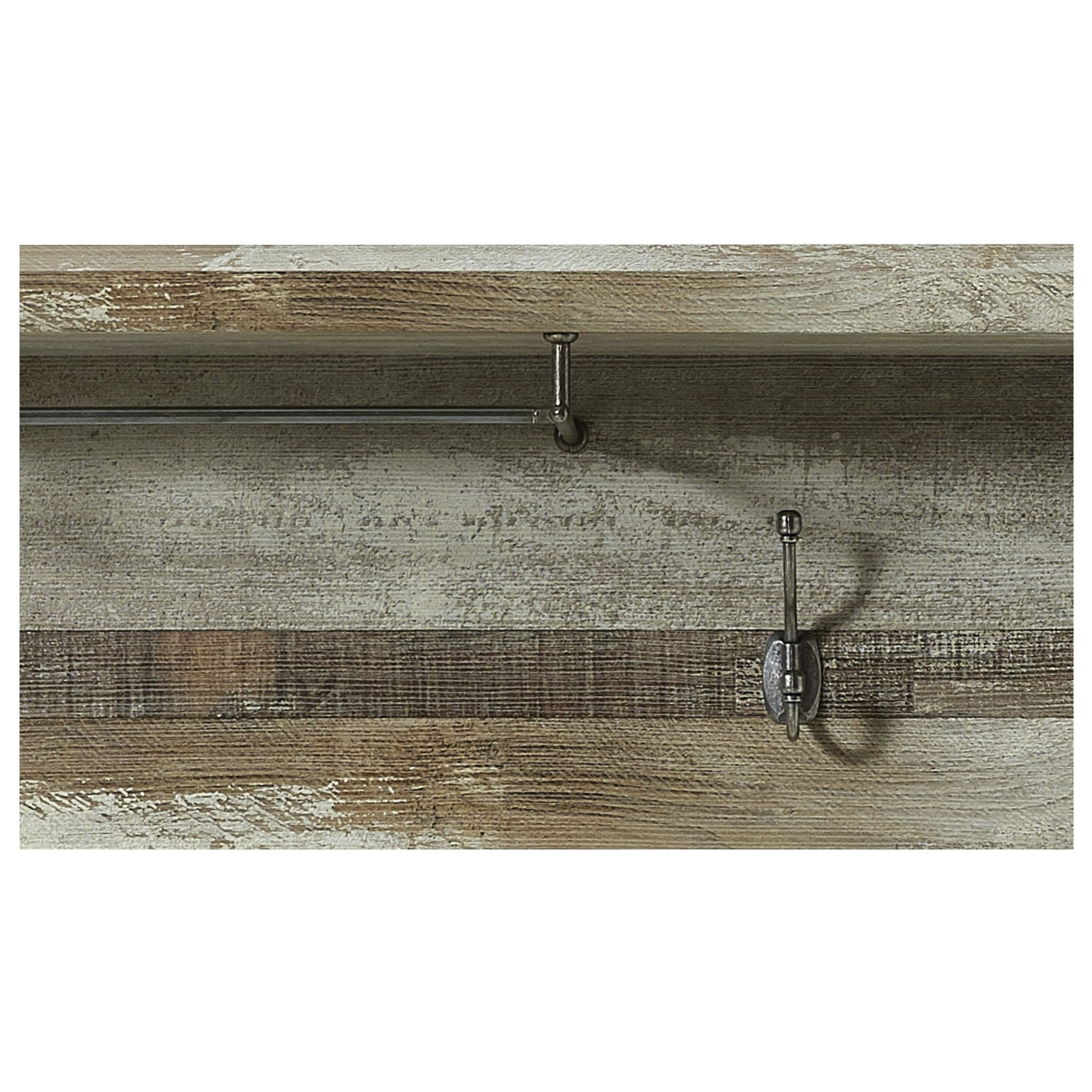 Sconto Predsieňový panel BONANZA driftwood Malý vešiakový panel BONANZA v dizajne nábytkového programu rovnakého mena, Vám štýlovo doplní vstupné priestory a ponúkne hornú odkladaciu policu, tyč na ramienka a tri samostatné háčiky ako jednoduchý odkladací priestor.
