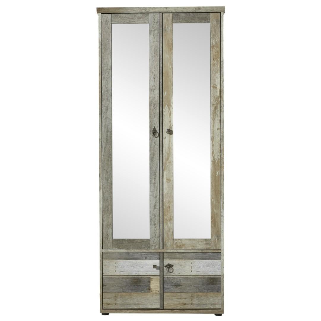 Sconto Predsieňová skriňa BONANZA driftwood Štýlová predsieňová skriňa v modernom dekore naplaveného dreva sa uzatvára pomocou 4 otočných dverí s nepravidelnými rúčkami.
