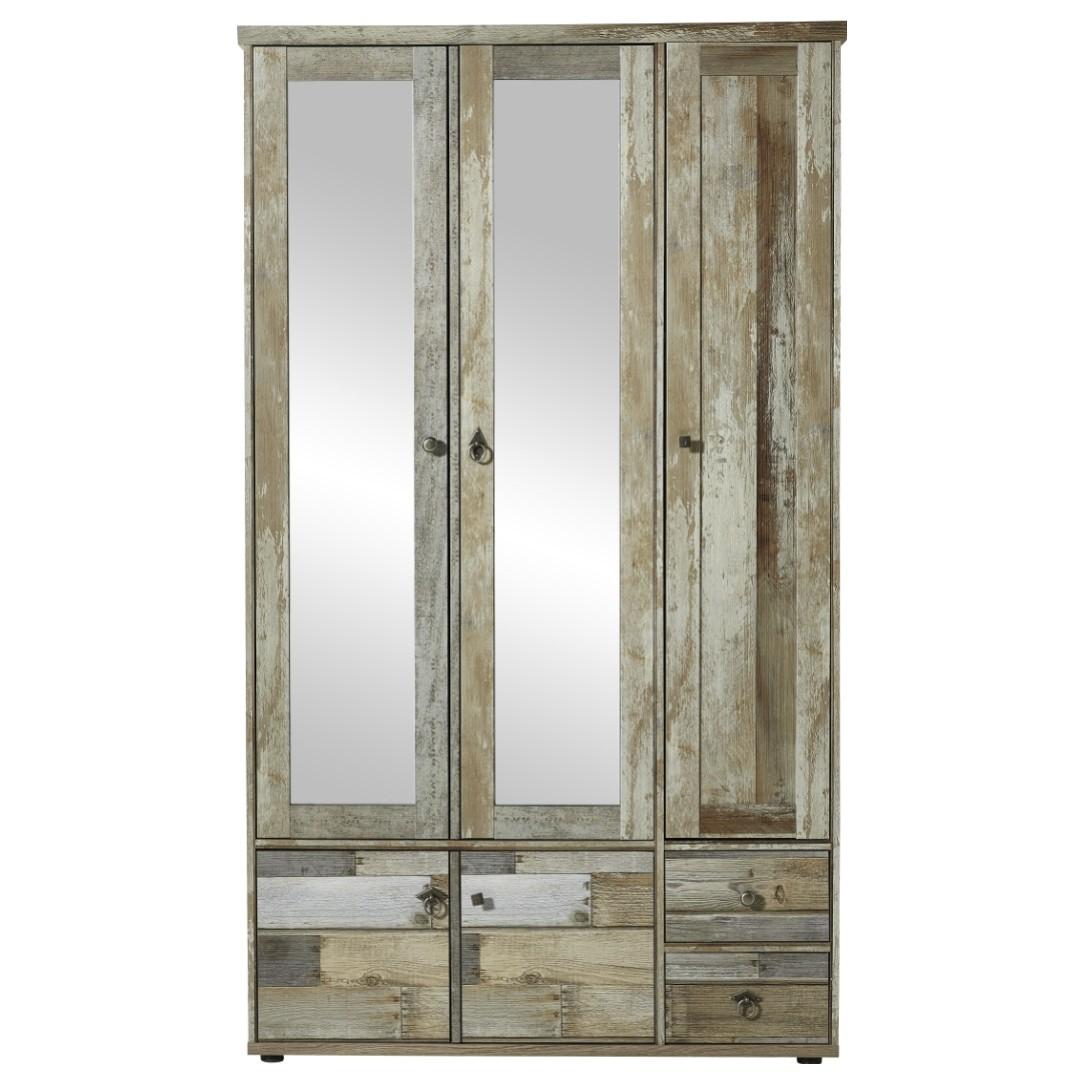 Sconto Predsieňová skriňa BONANZA driftwood Štýlová 3-dverová kombinovaná predsieňová skriňa BONANZA je vyrobená v trendy dekore naplaveného dreva.
