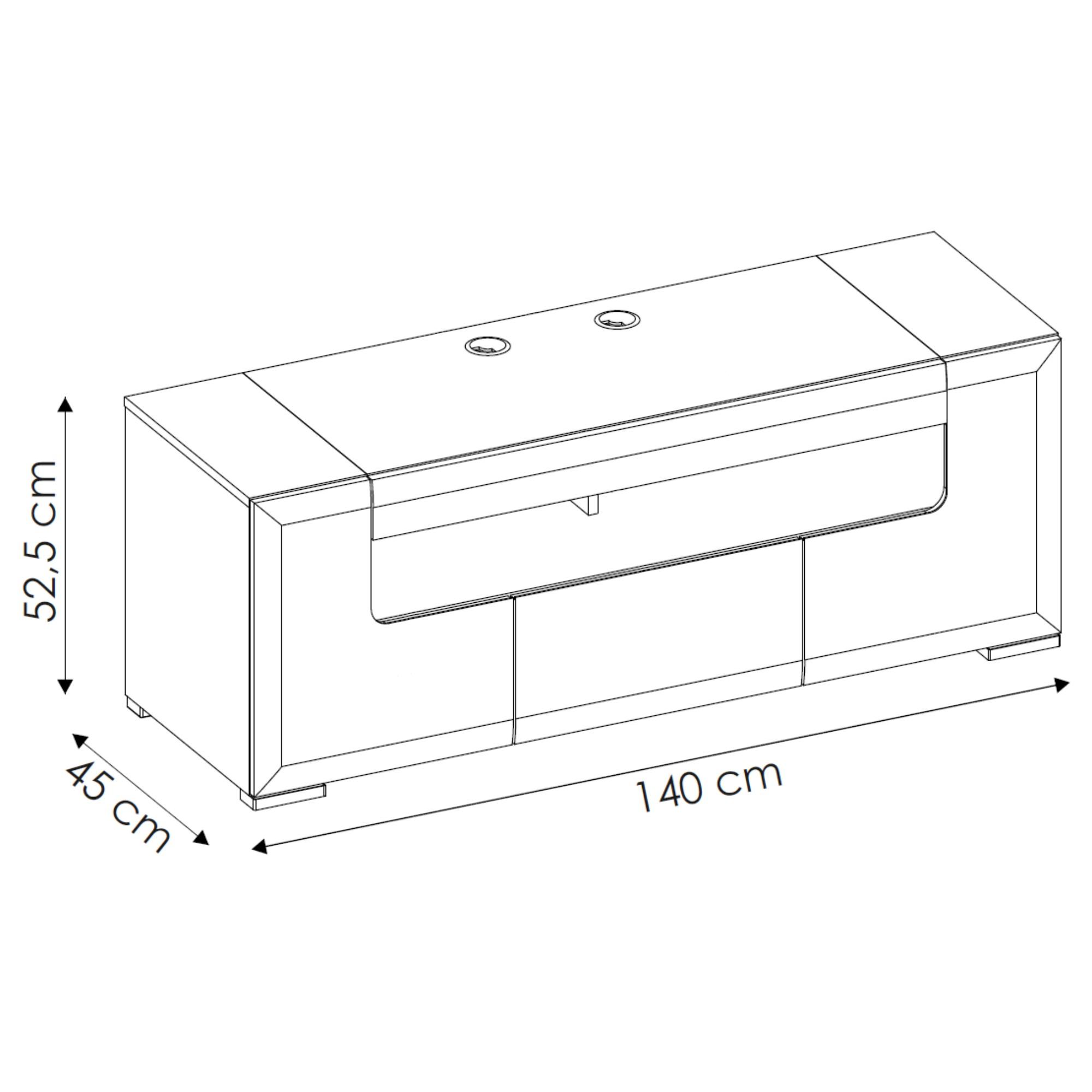 Sconto TV komoda CANTERO biela vysoký lesk/betón, šírka 140 cm.
