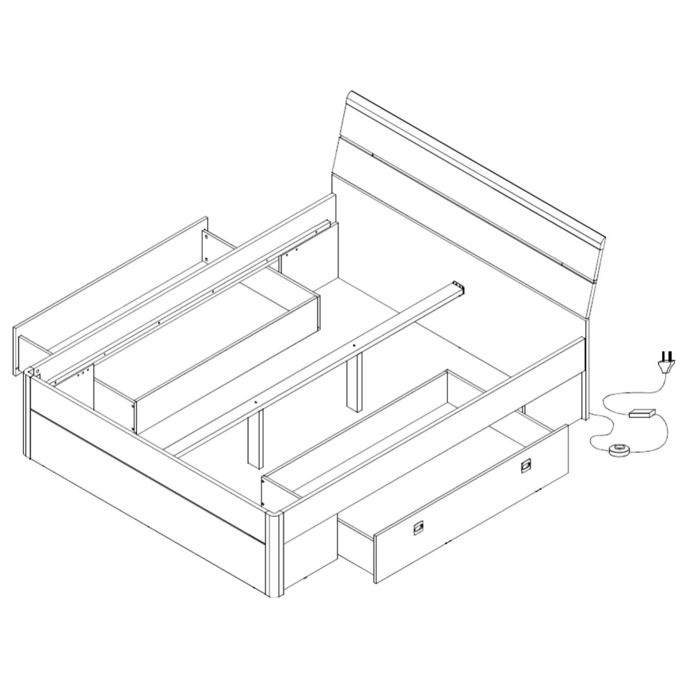 Sconto Posteľ s nočnými stolíkmi MAESTRO dub sanremo svetlý, 180x200 cm Sada postele a dvoch nočných stolíkov MAESTRO vytvára dobrý základ spálne.