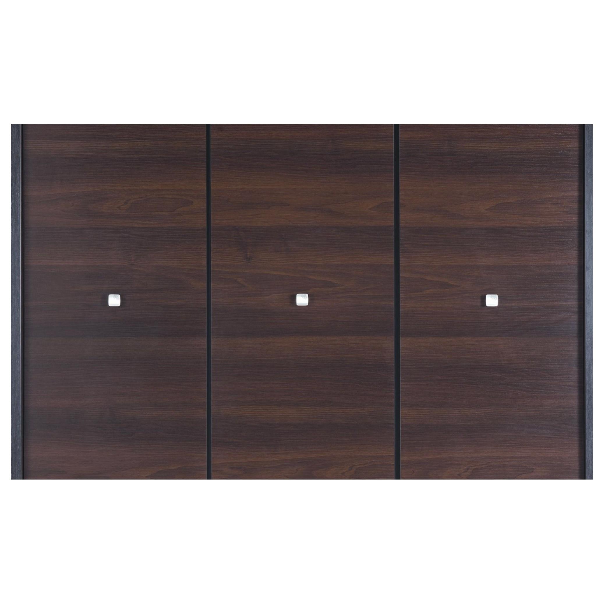 Sconto Šatníková skriňa MALLORCA dekor ořech tmavý 3-dverová šatníková skriňa MALLORCA vyniká kontrastnou kombináciou dekoru tmavého orecha a chrómovaných rúčok.