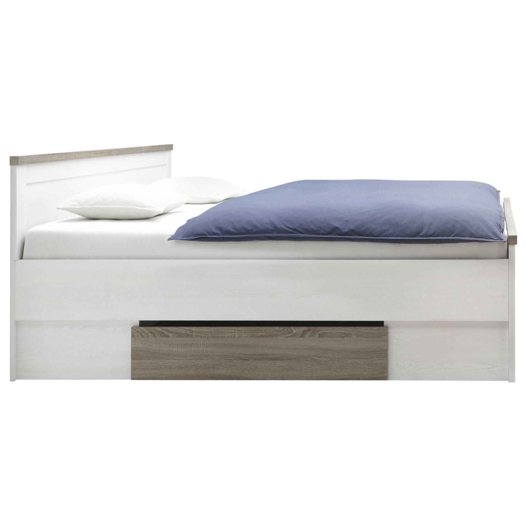 Sconto Posteľ s nočnými stolíkmi PARVATI biela, 180x200 cm Elegantná posteľ PARVATI je vyrobená z odolného laminovaného materiálu v príjemnej kombinácii drevených dekorov.