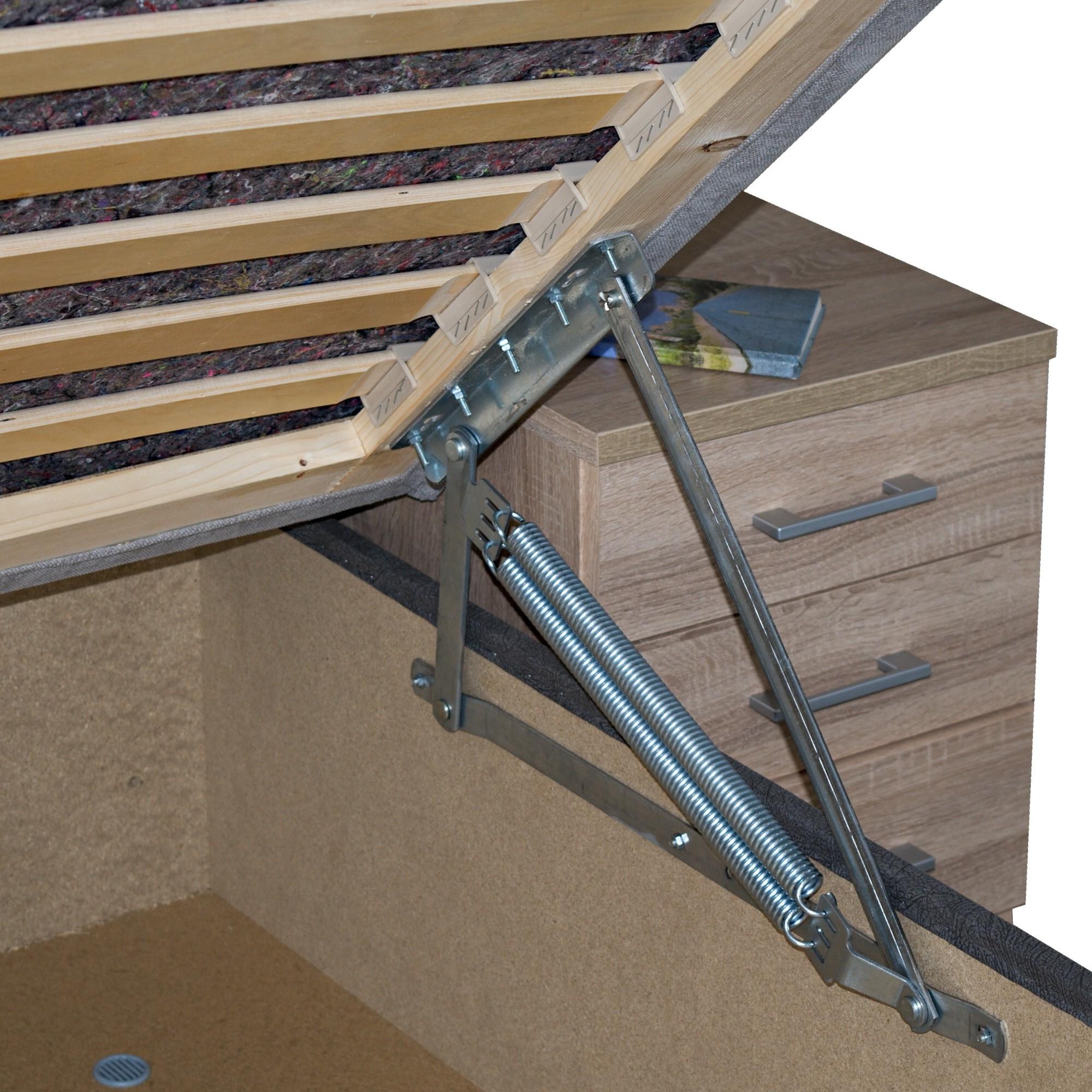 Sconto Posteľ PETRA dub sonoma/sivá, 140x200 cm Univerzálna čalúnená posteľ PETRA predstavuje kompletné lôžko vrátane matraca a roštu.