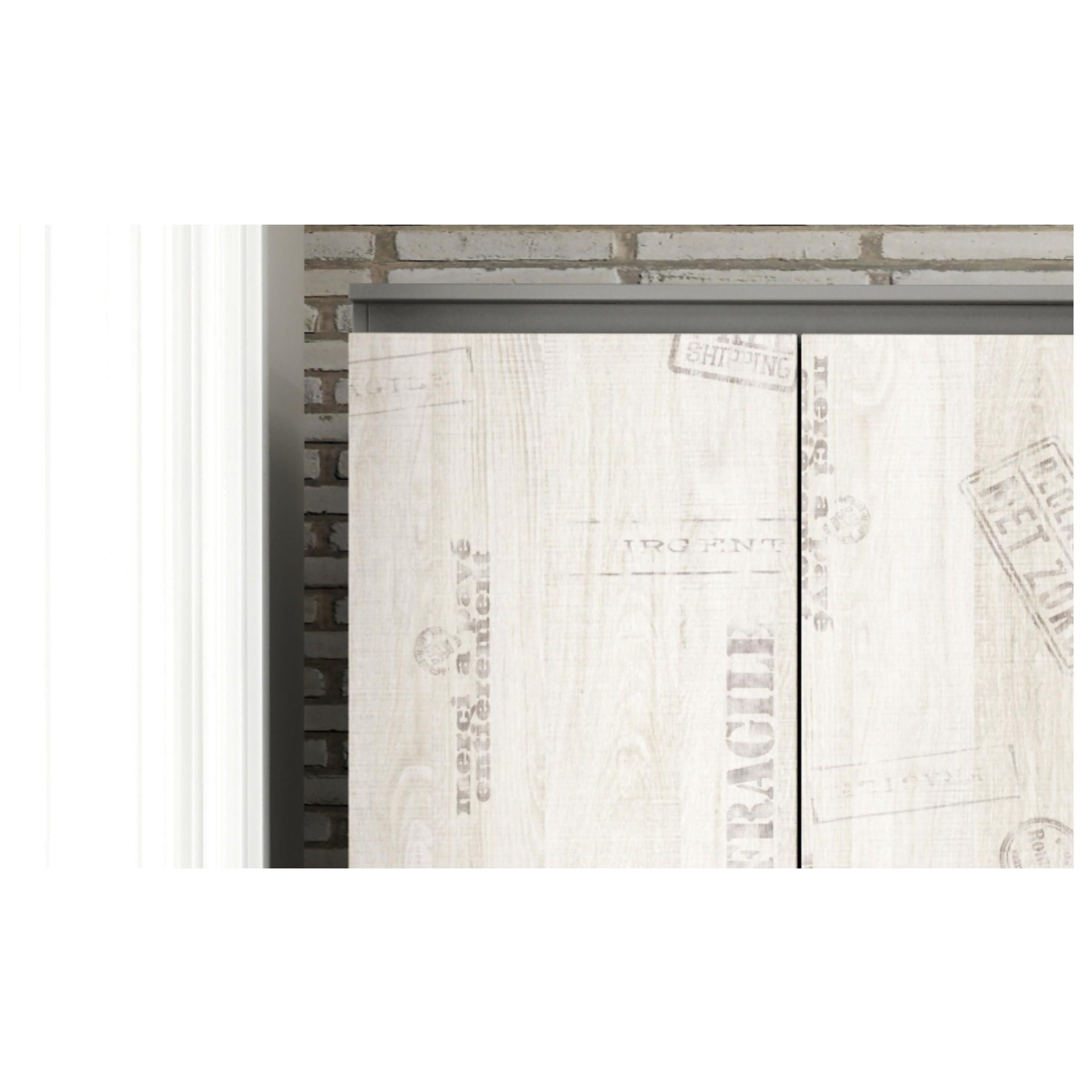 Sconto Rohová šatníková skriňa SANTANA SA-00L l'avá Praktická rohová šatníková skriňa SANTANA s 2 otočnými dverami je vyrobená v industriálnom štýle s vintage prvkami.